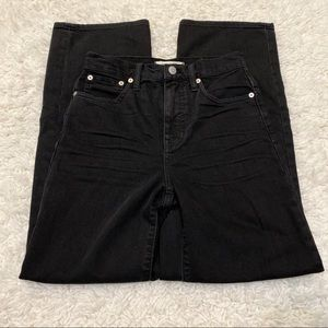 Madewell Slim Wide Leg Crop Black Jeans 25